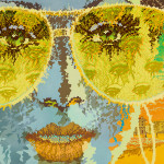 The Golden Glasses by Orr Marshall, Limited Edition print from original 1979 acrylic painting.