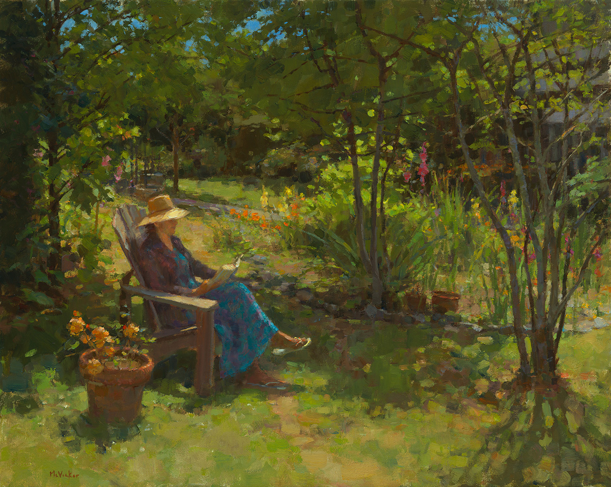 "Jim McVicker, Summer Reading, oil on linen, 24"" x 30"", 2010."