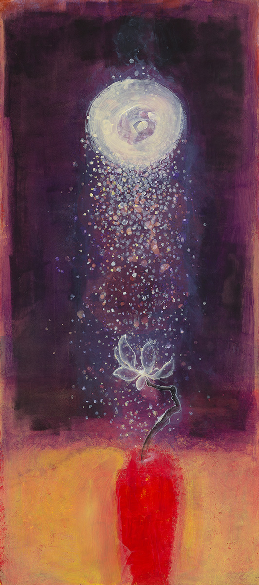 Susanna Gallisdorfer, Night Flower Red Vase, acrylic on Tyvek, 2010