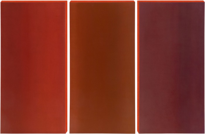 Red Triptych, oil on canvas, 40 x 20 (3), 2008