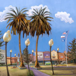 Highlighting Arcata Plaza by Beverly Harper, Limited Edition print from original oil painting.