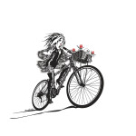 Goth Girl Bike by Orr Marshall, Limited Edition print from original ink drawing.