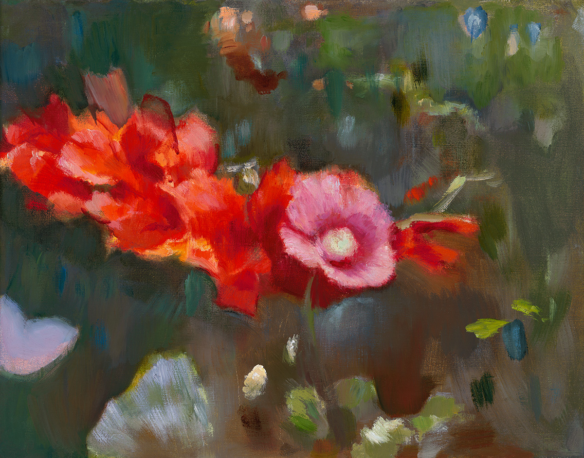 Poppy with Leaning Gladiola – Theresa Oats