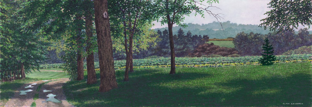 Alan Sanborn, Kate's Driveway, Limited Edition print from watercolor.
