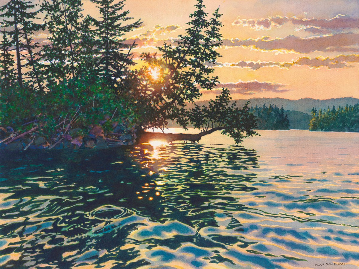 Alan Sanborn, Lac Des Iles, Limited Edition print from watercolor.
