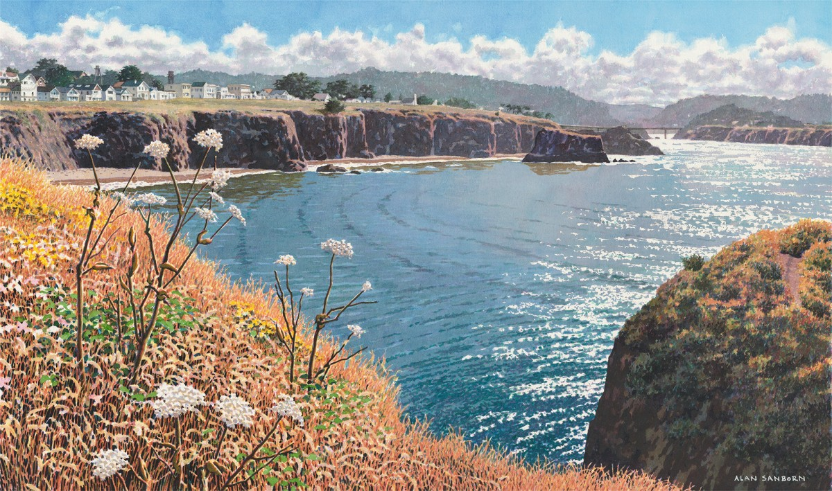 Alan Sanborn, Mendocino Headlands, Limited Edition print from watercolor.