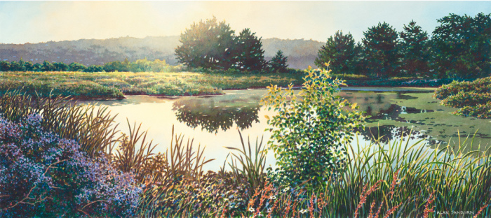 Alan Sanborn, Sunrise at the Marsh, Limited Edition print from watercolor.