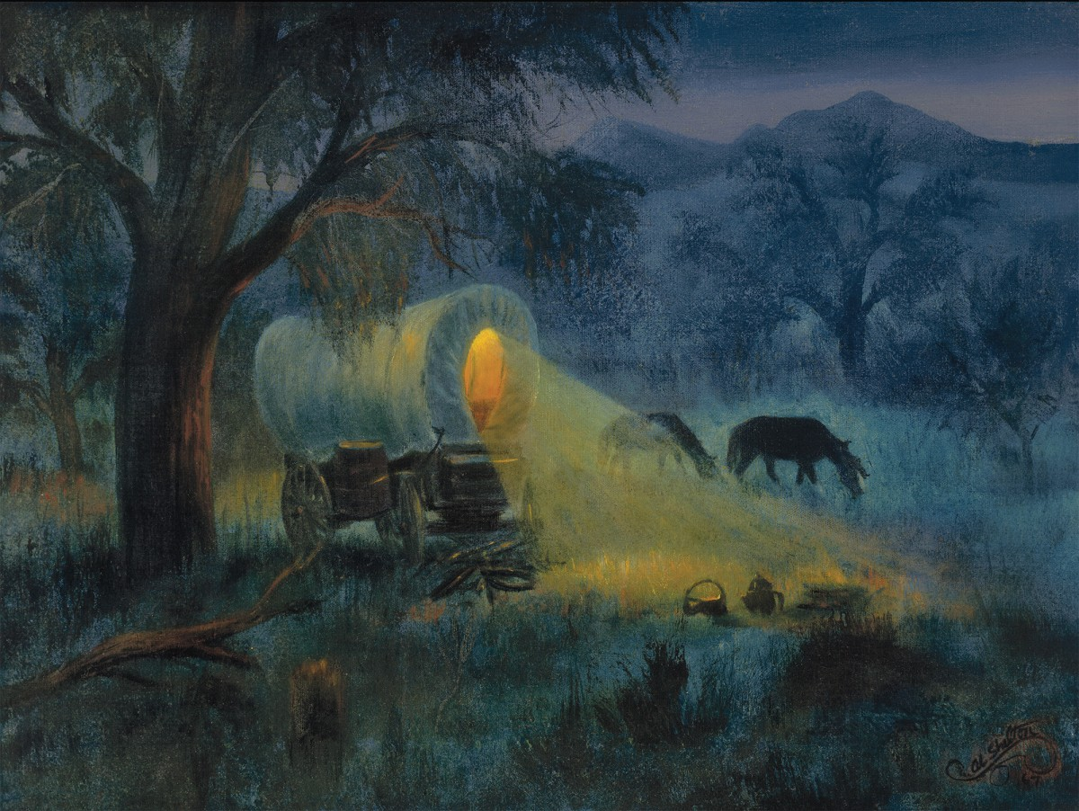 Al Shelton, Night Along the Trail, Reproduction print of original oil painting.